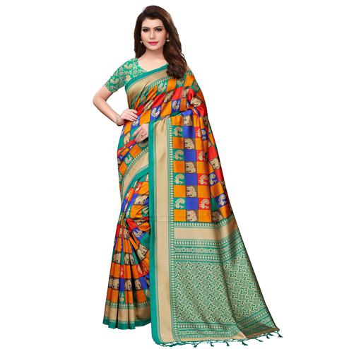 Classy Multi-Turquoise Green Colored Festive Wear Woven Mysore Silk Saree