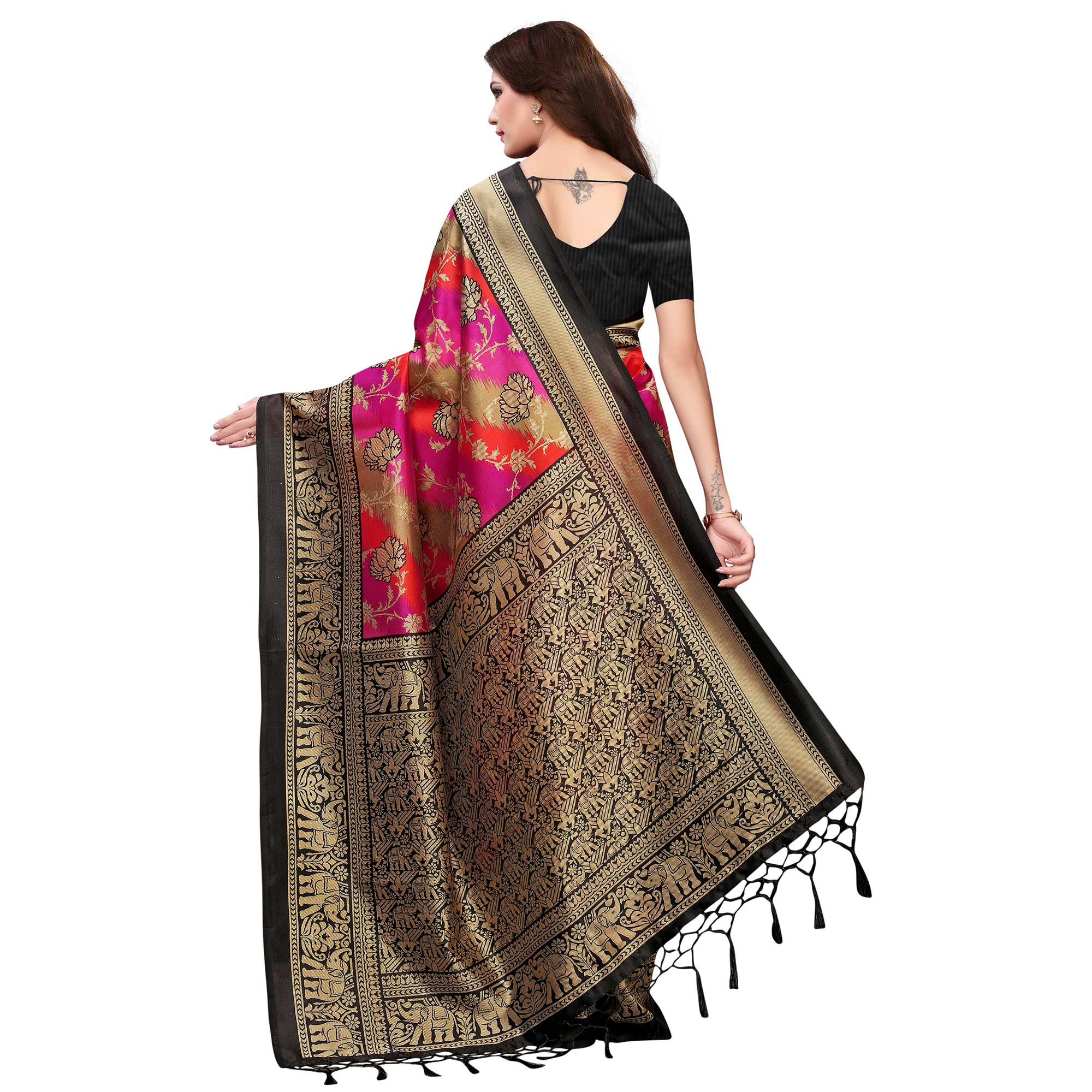 Delightful Multi-Black Colored Festive Wear Woven Mysore Silk Saree