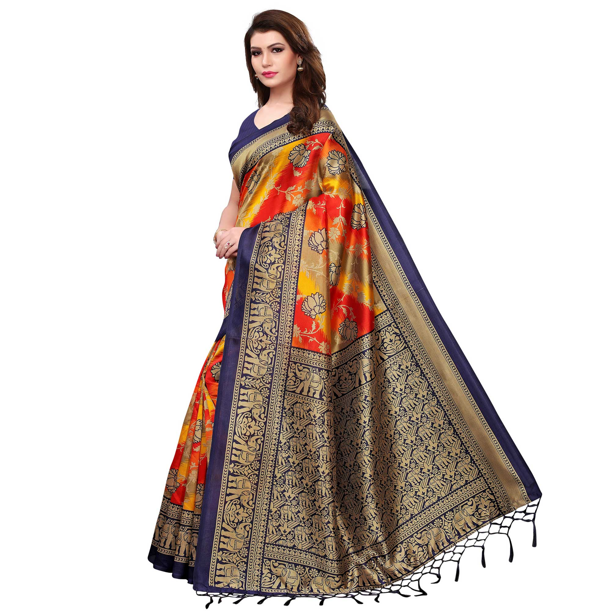 Engrossing Multi-Navy Blue Colored Festive Wear Woven Mysore Silk Saree
