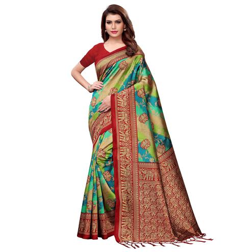 Entrancing Multi-Red Colored Festive Wear Woven Mysore Silk Saree