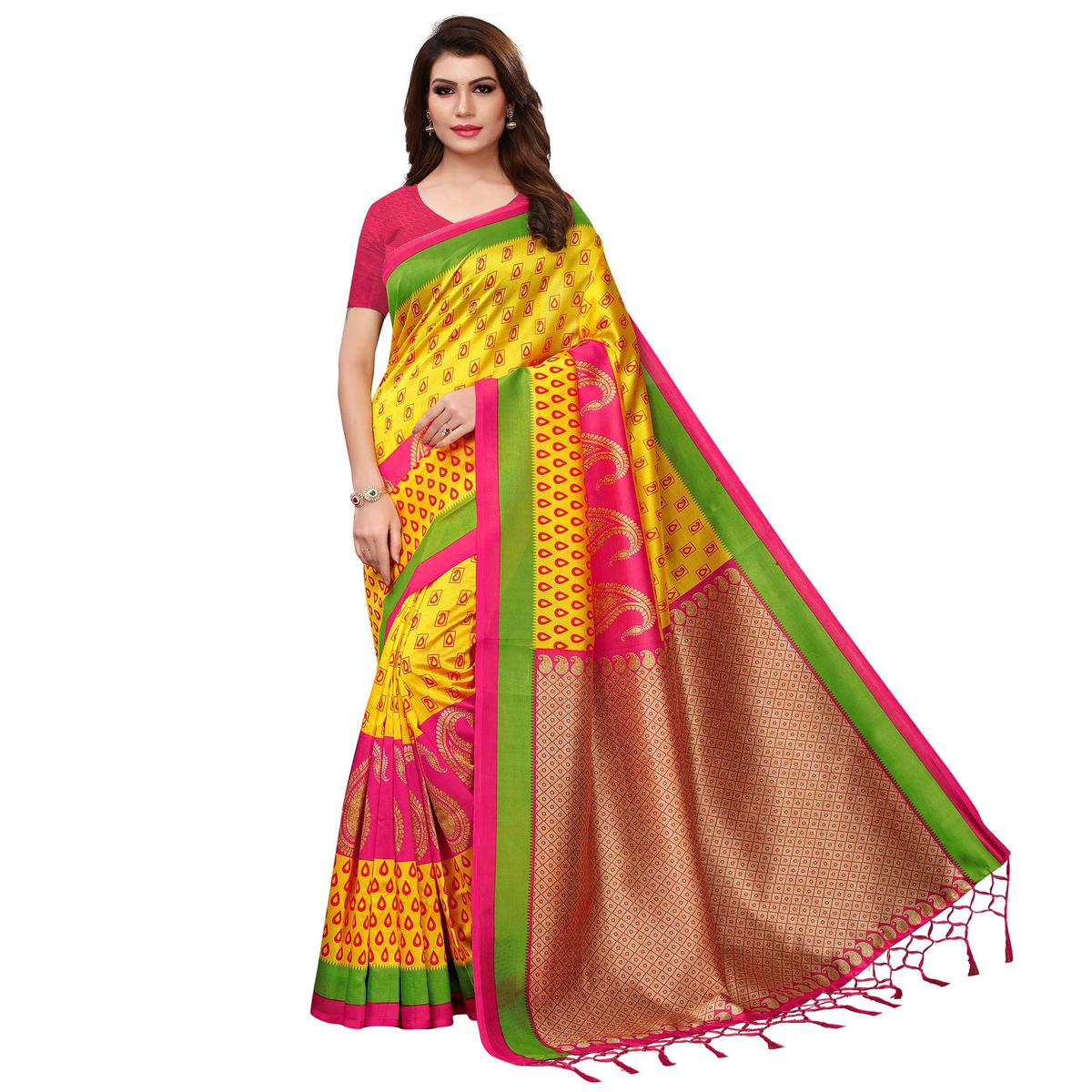 Exotic Yellow Colored Festive Wear Woven Mysore Silk Saree