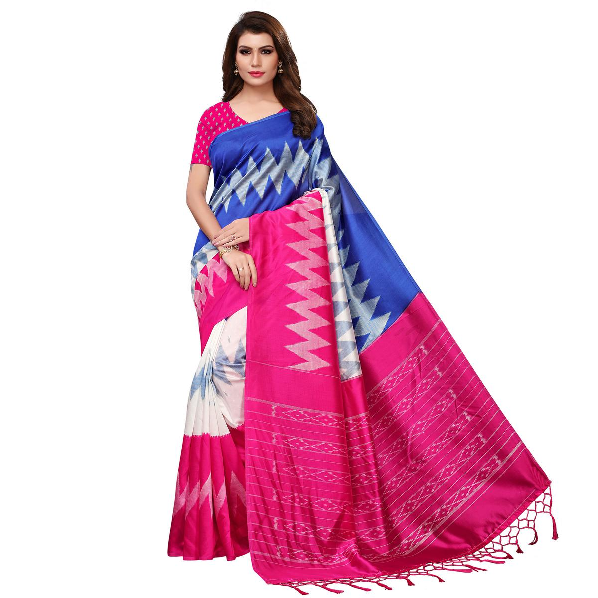 Magnetic Blue-Pink Colored Festive Wear Woven Mysore Silk Saree