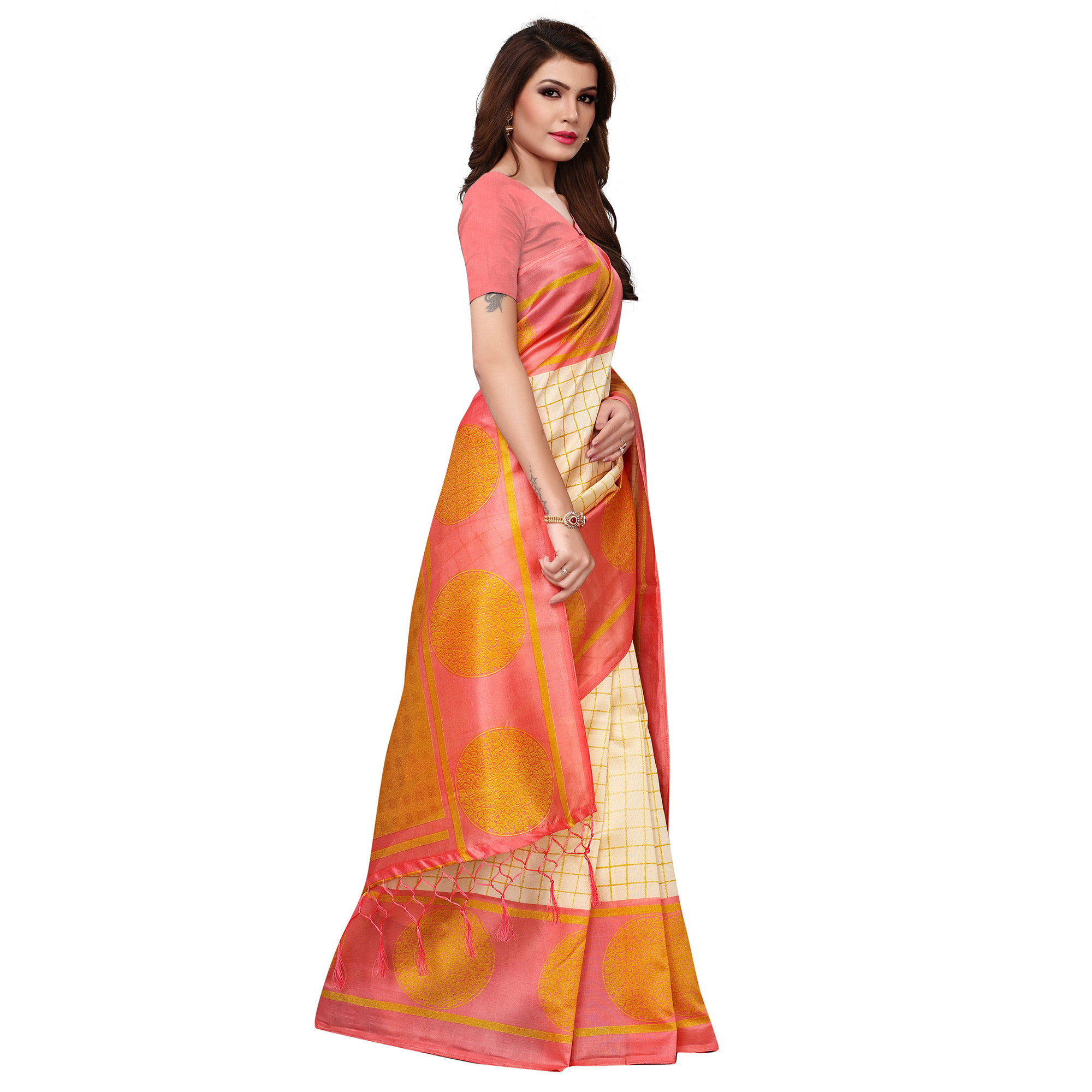 Eye-catching Cream Colored Festive Wear Woven Mysore Silk Saree