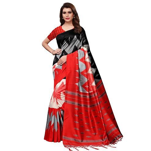 Fantastic Black-Red Colored Festive Wear Woven Mysore Silk Saree