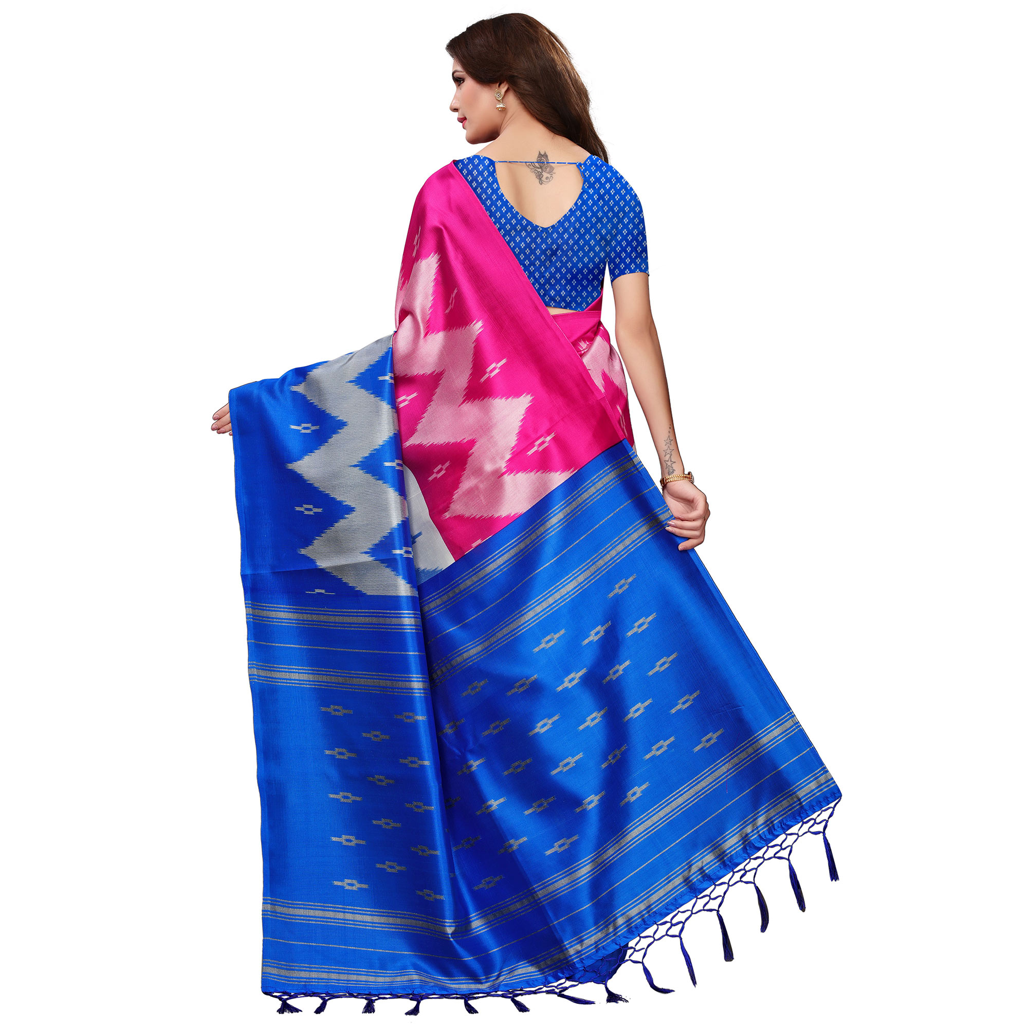 Gorgeous Pink-Blue Colored Festive Wear Woven Mysore Silk Saree