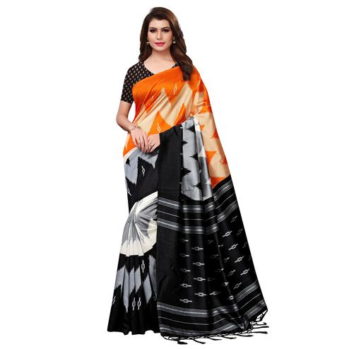 Graceful Orange-Black Colored Festive Wear Woven Mysore Silk Saree