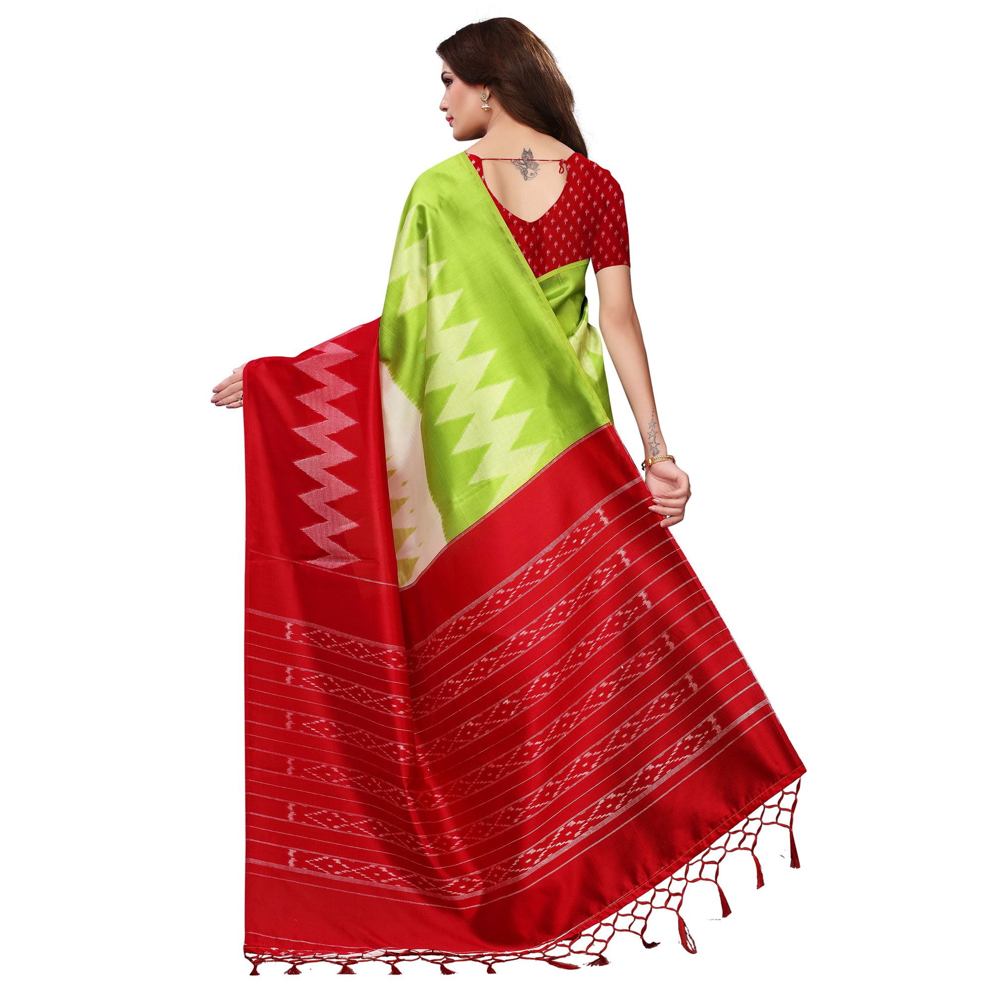 Ideal Green-Red Colored Festive Wear Woven Mysore Silk Saree