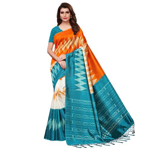 Imposing Orange-Blue Colored Festive Wear Woven Mysore Silk Saree