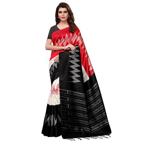 Lovely Red-Black Colored Festive Wear Woven Mysore Silk Saree