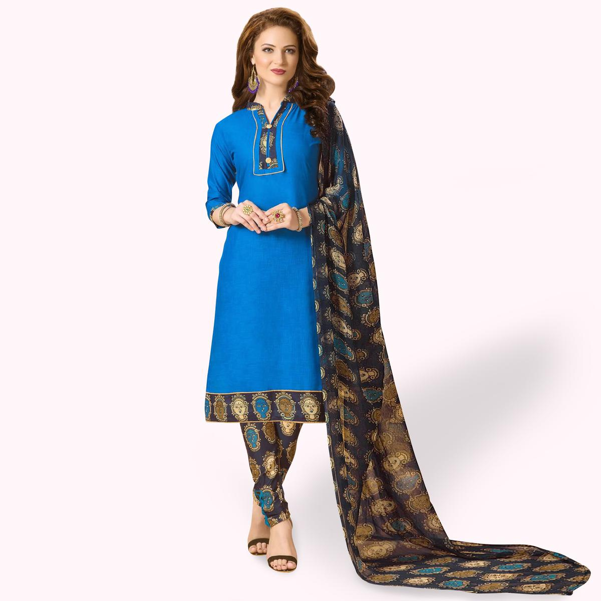 Adorable Blue Colored Casual Wear Printed Cotton Dress Material
