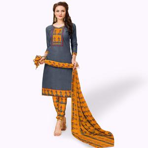 Beautiful Grey Colored Casual Wear Printed Cotton Dress Material