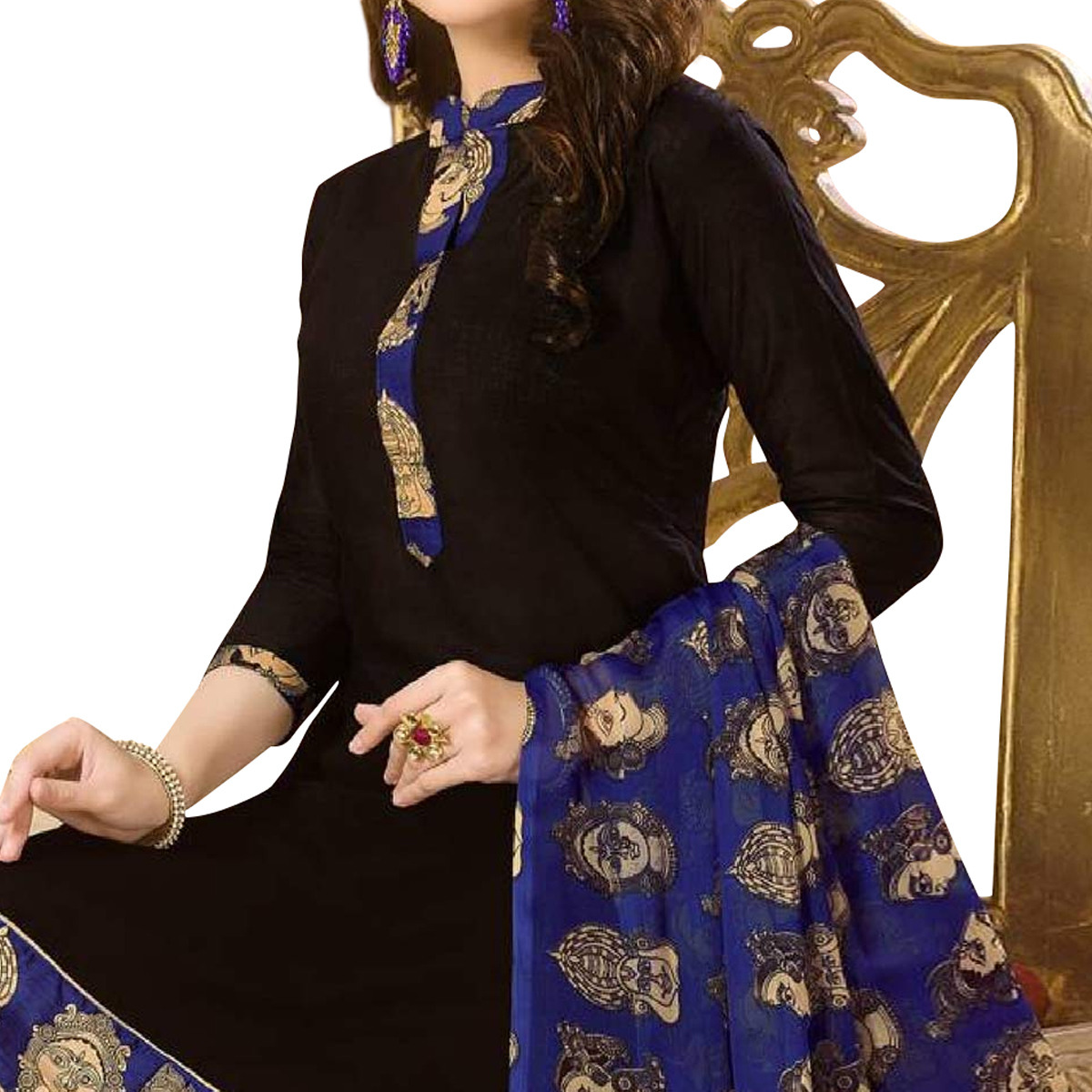 Blissful Black Colored Casual Wear Printed Cotton Dress Material