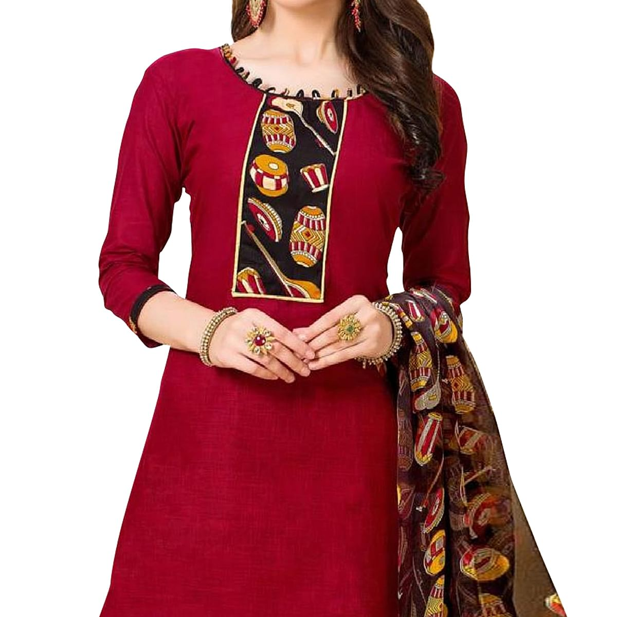 Blooming Maroon Colored Casual Wear Printed Cotton Dress Material