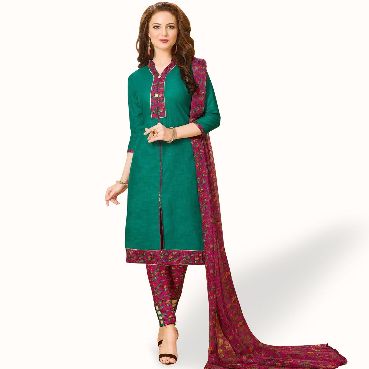 Charming Rama Green Colored Casual Wear Printed Cotton Dress Material