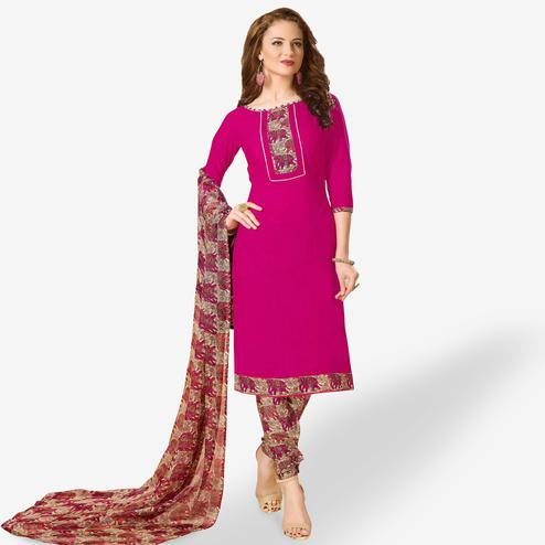 Classy Rani Pink Colored Casual Wear Printed Cotton Dress Material