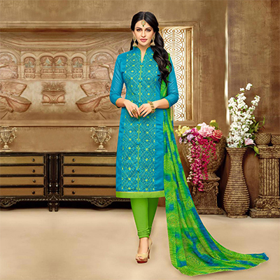 Charming Light Blue Chanderi Salwar Suit