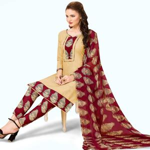 Delightful Beige Colored Casual Wear Printed Cotton Dress Material