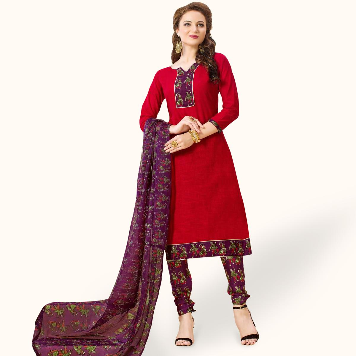 Engrossing Red Colored Casual Wear Printed Cotton Dress Material