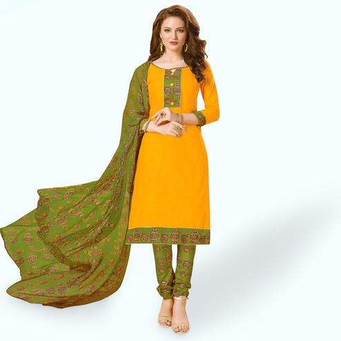 Entrancing Yellow Colored Casual Wear Printed Cotton Dress Material