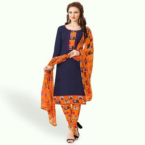 Exotic Navy Blue Colored Casual Wear Printed Cotton Dress Material