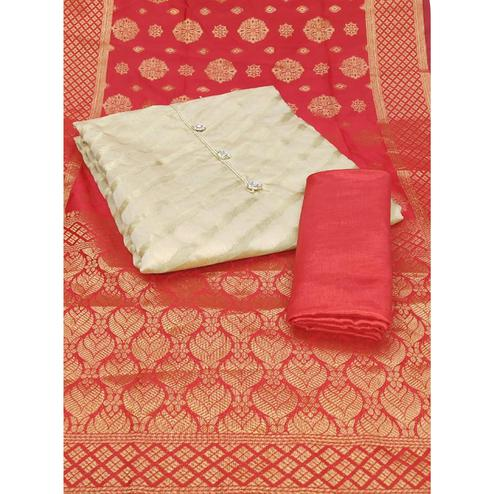 Gleaming Cream-Red Colored Party Wear Woven Jacquard Dress Material