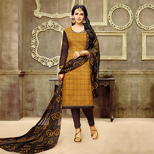 Golden Yellow Chanderi Salwar Suit