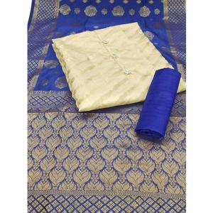 Mesmeric Cream-Navy Blue Colored Party Wear Woven Jacquard Dress Material