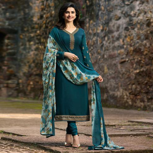 Exceptional Teal Blue Colored Party Wear Embroidered Crepe Salwar Suit