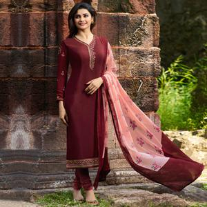 Gleaming Maroon Colored Party Wear Embroidered Crepe Salwar Suit