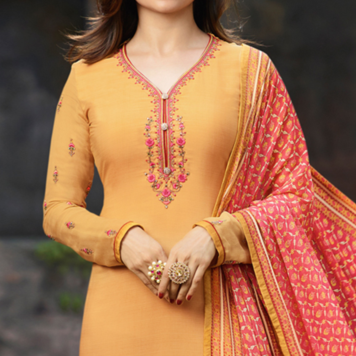 Mesmeric Yellow Colored Party Wear Embroidered Crepe Salwar Suit