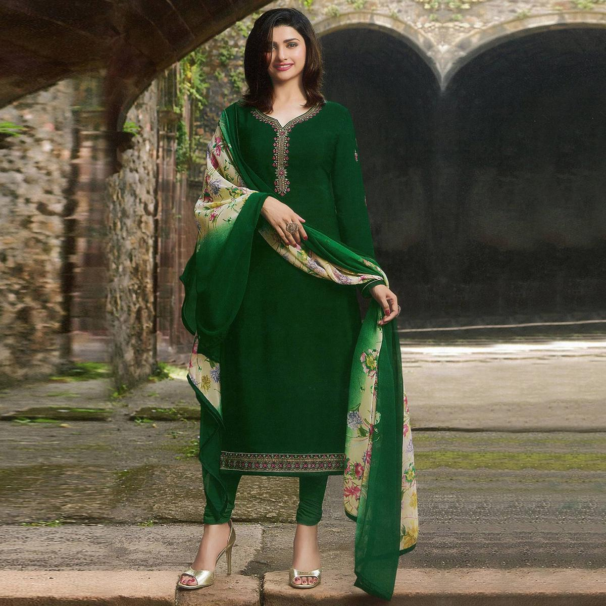 Unique Green Colored Party Wear Embroidered Crepe Salwar Suit