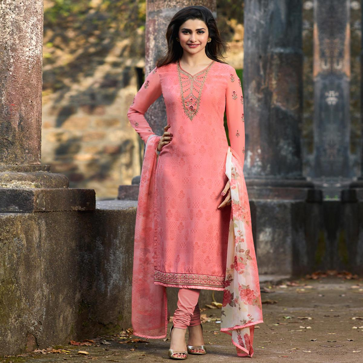 Demanding Pink Colored Party Wear Embroidered Crepe Salwar Suit