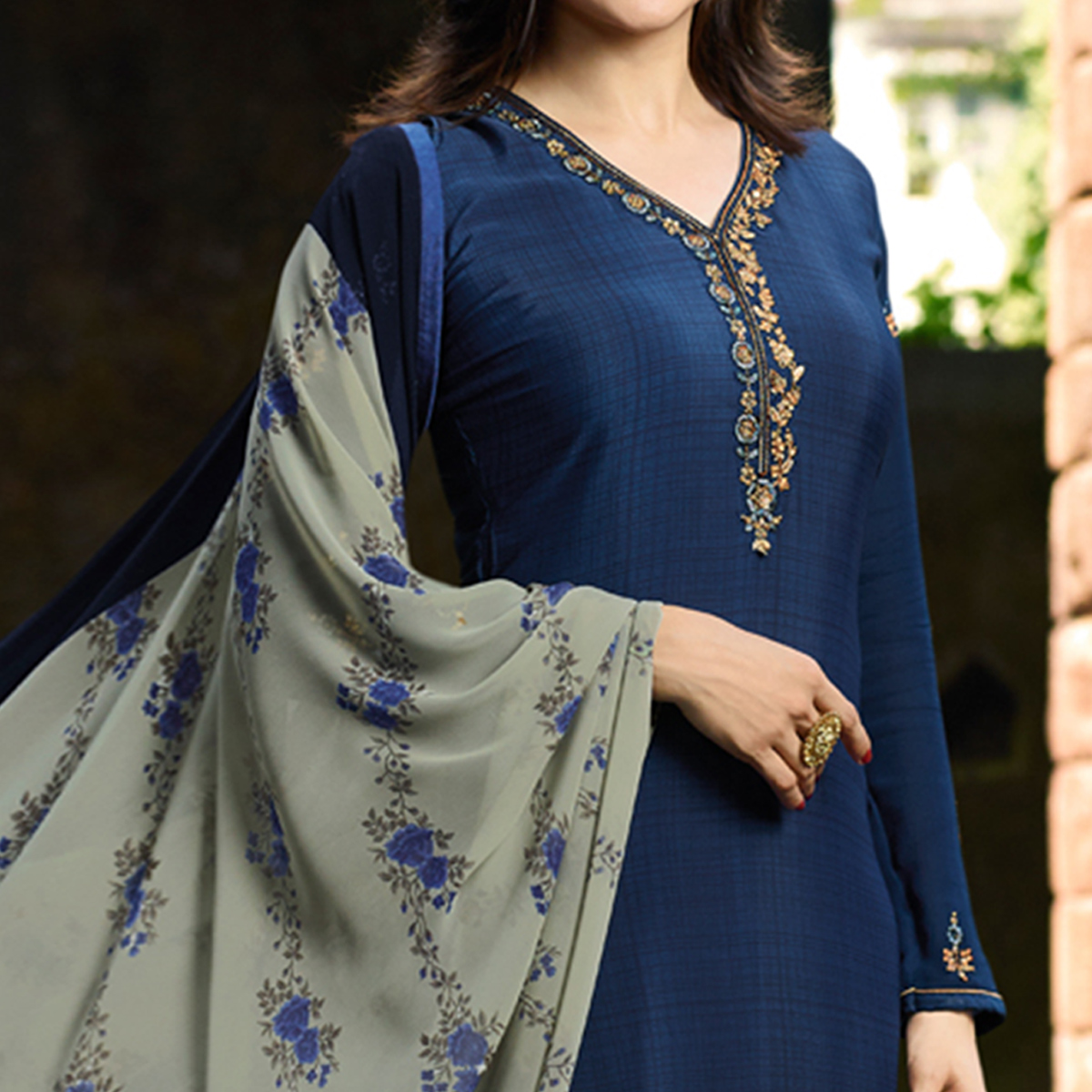 Refreshing Navy Blue Colored Party Wear Embroidered Crepe Salwar Suit
