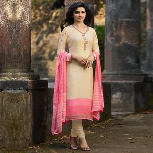 Magnetic Cream Colored Party Wear Embroidered Crepe Salwar Suit