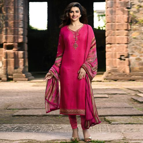 Hypnotic Pink Colored Party Wear Embroidered Crepe Salwar Suit