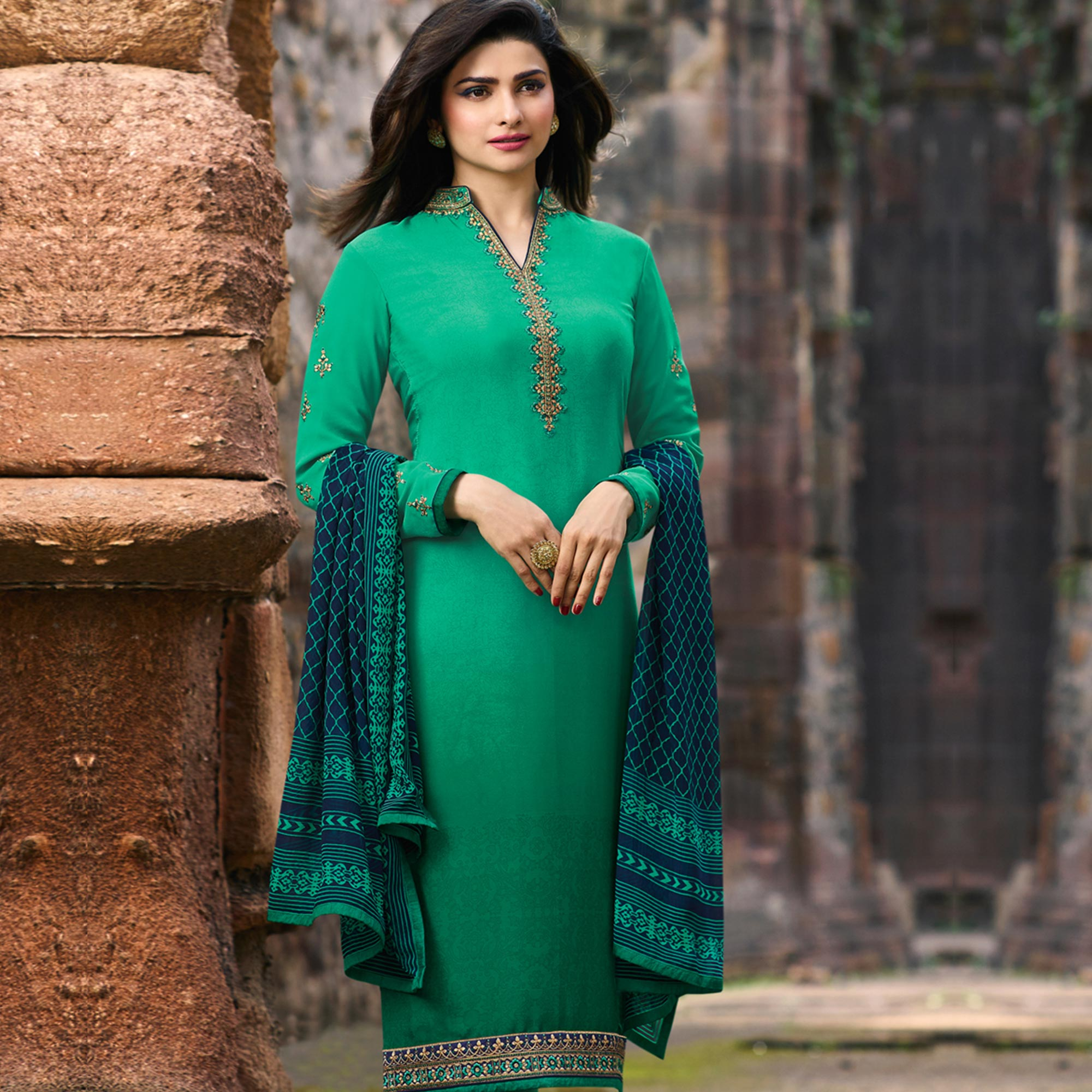 Elegant Rama Green Colored Party Wear Embroidered Crepe Salwar Suit