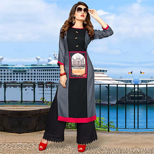 Stylish Black & Grey Printed Rayon Long Kurti