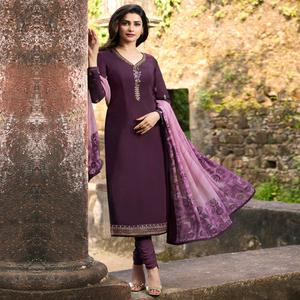 Excellent Purple Colored Party Wear Embroidered Crepe Salwar Suit