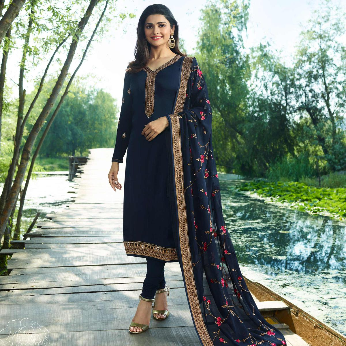 Stunning Navy Blue Colored Partywear Embroidered Georgette Satin Suit