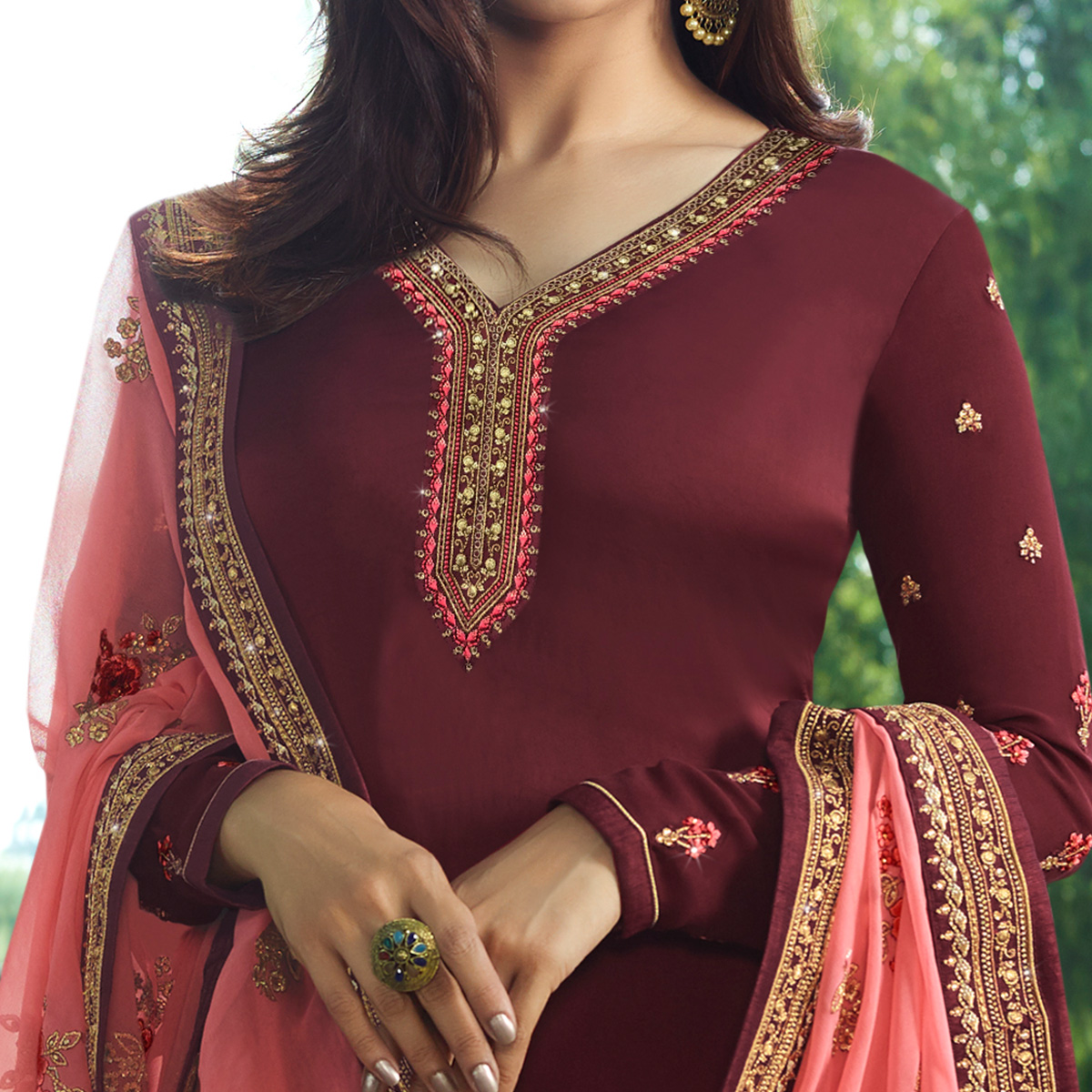 Amazing Maroon Colored Partywear Embroidered Georgette Satin Suit