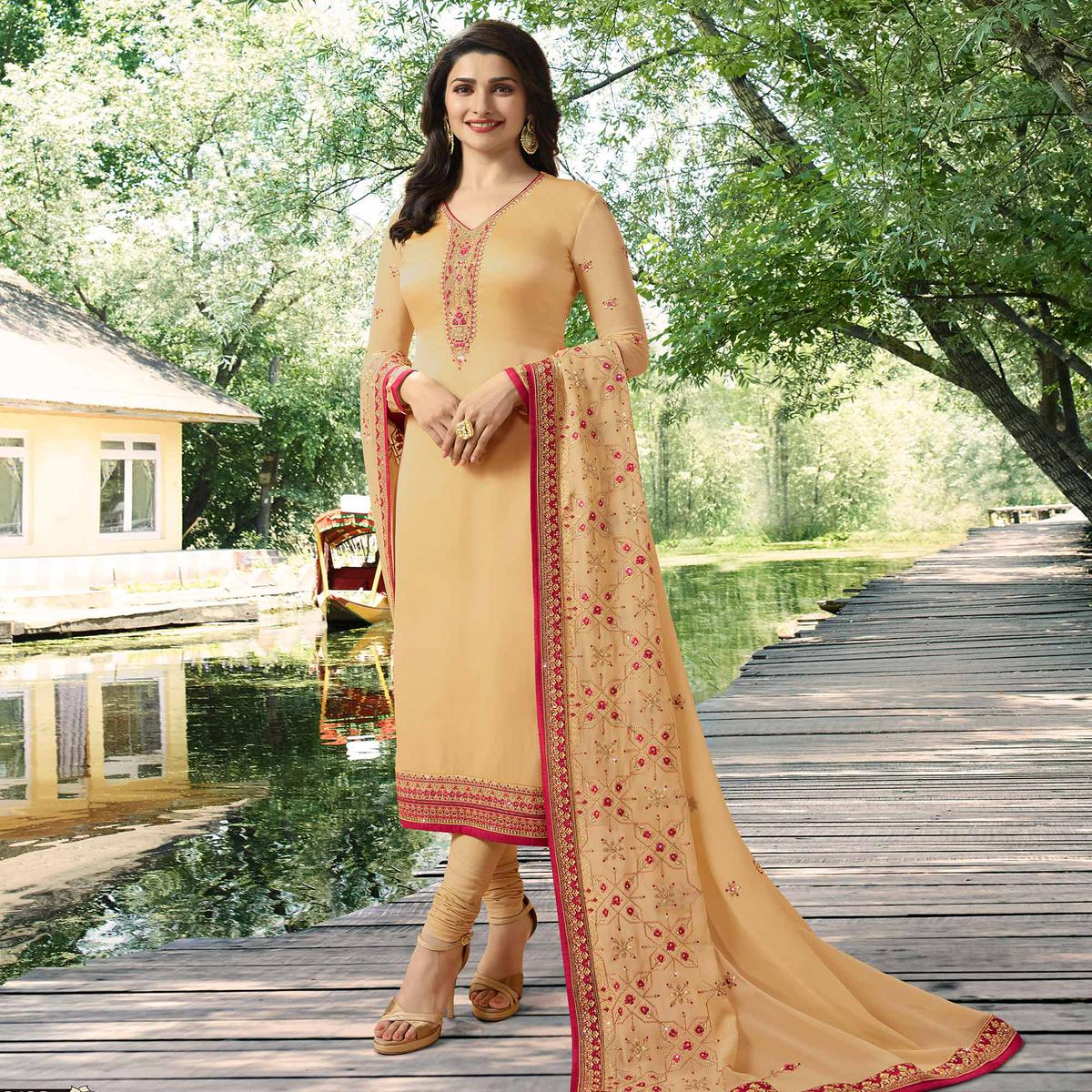 Fantastic Light Yellow Colored Partywear Embroidered Georgette Satin Suit
