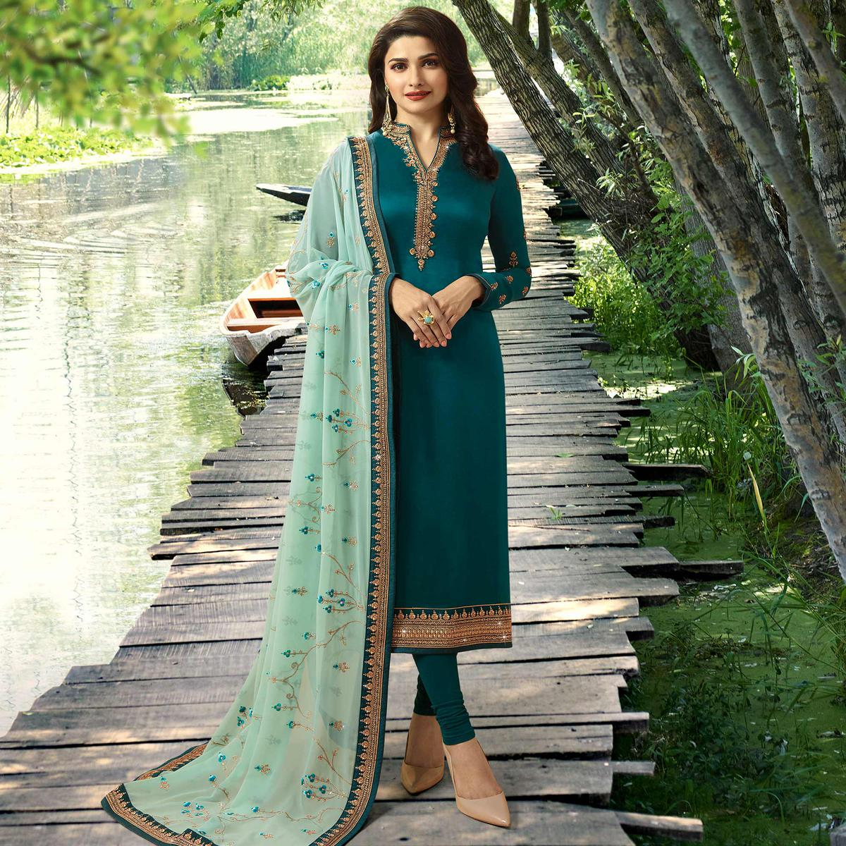 Refreshing Teal Green Colored Partywear Embroidered Georgette Satin Suit