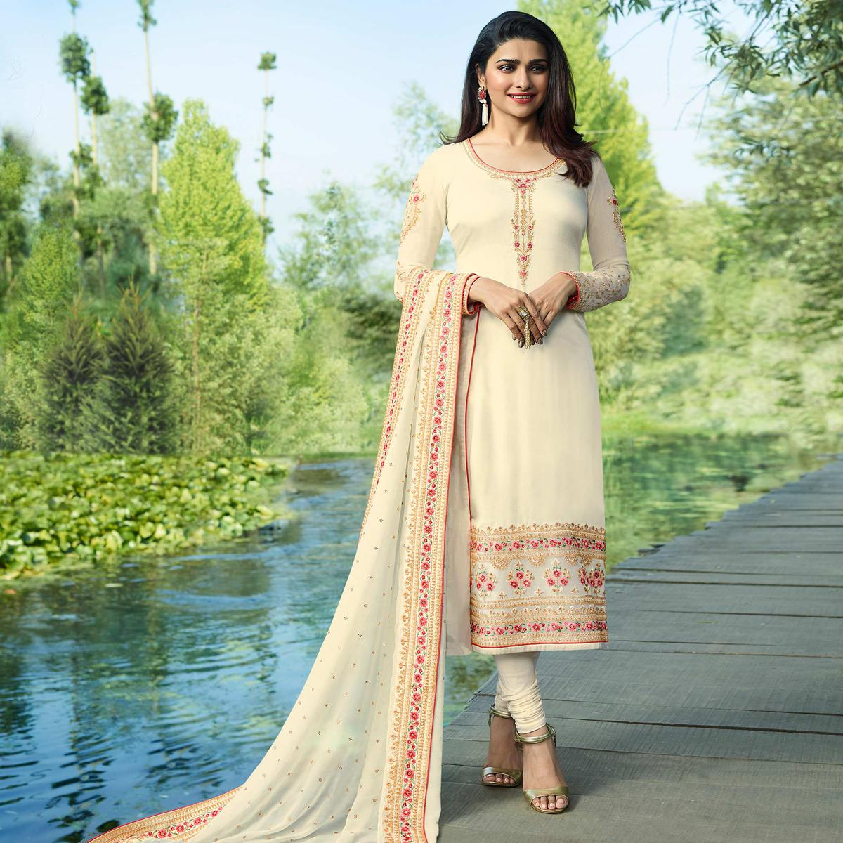Sophisticated Cream Colored Partywear Embroidered Georgette Satin Suit