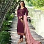 Demanding Violet Colored Partywear Embroidered Georgette Satin Suit