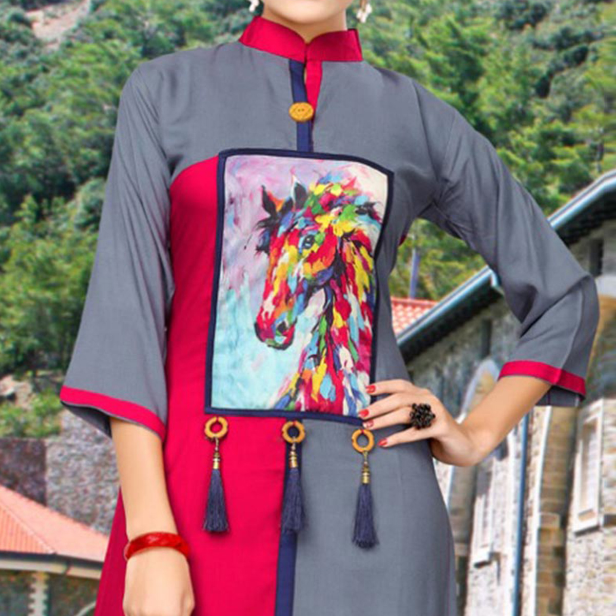 Graceful Grey And Red Designer Printed Party Wear Kurti