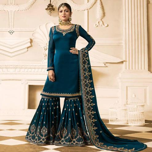 Capricious Azure Blue Colored Party Wear Embroidered Georgette Palazzo Suit
