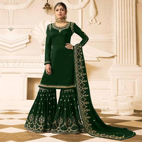 Captivating Green Colored Party Wear Embroidered Georgette Palazzo Suit