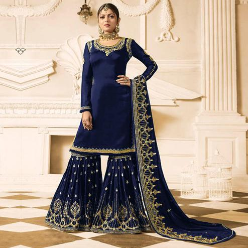 Groovy Blue Colored Party Wear Embroidered Georgette Palazzo Suit