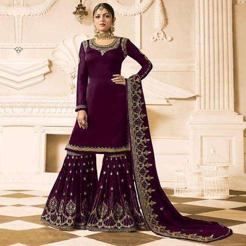Prominent Purple Colored Party Wear Embroidered Georgette Palazzo Suit