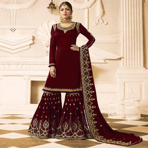 Innovative Maroon Colored Party Wear Embroidered Georgette Palazzo Suit